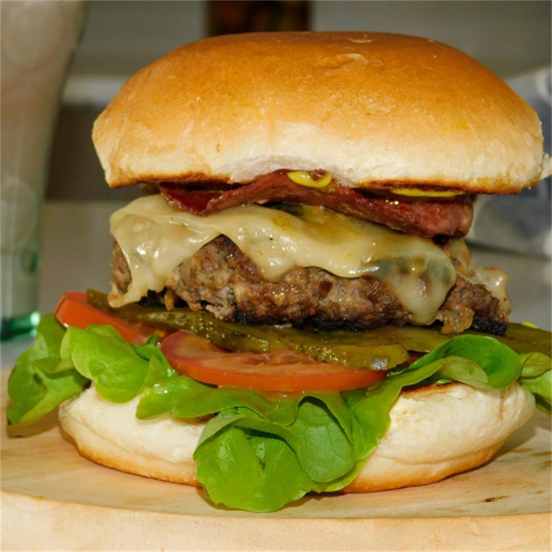 Homemade Beef & Bacon Burger
