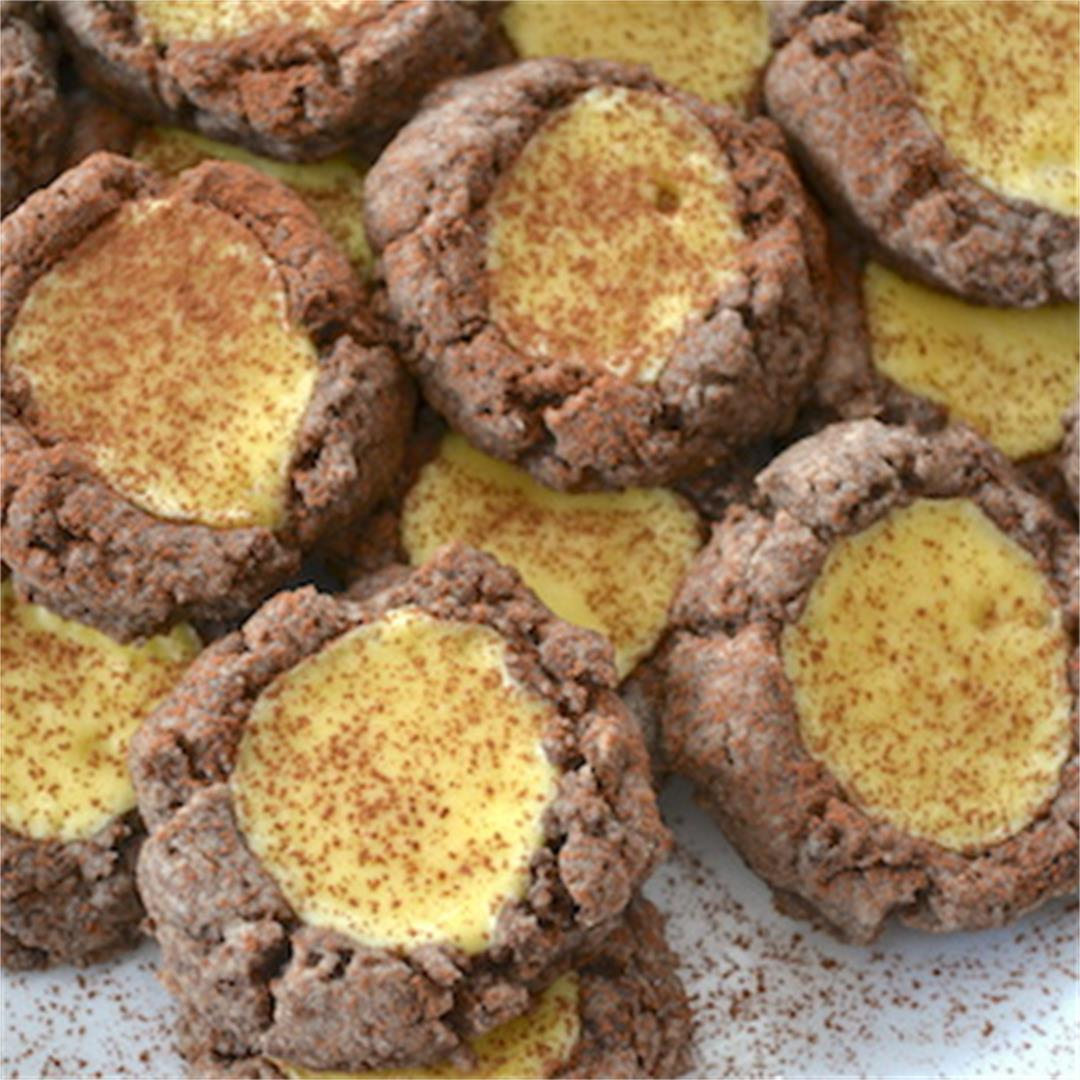Chocolate Thumbprint Cheesecake Cookies