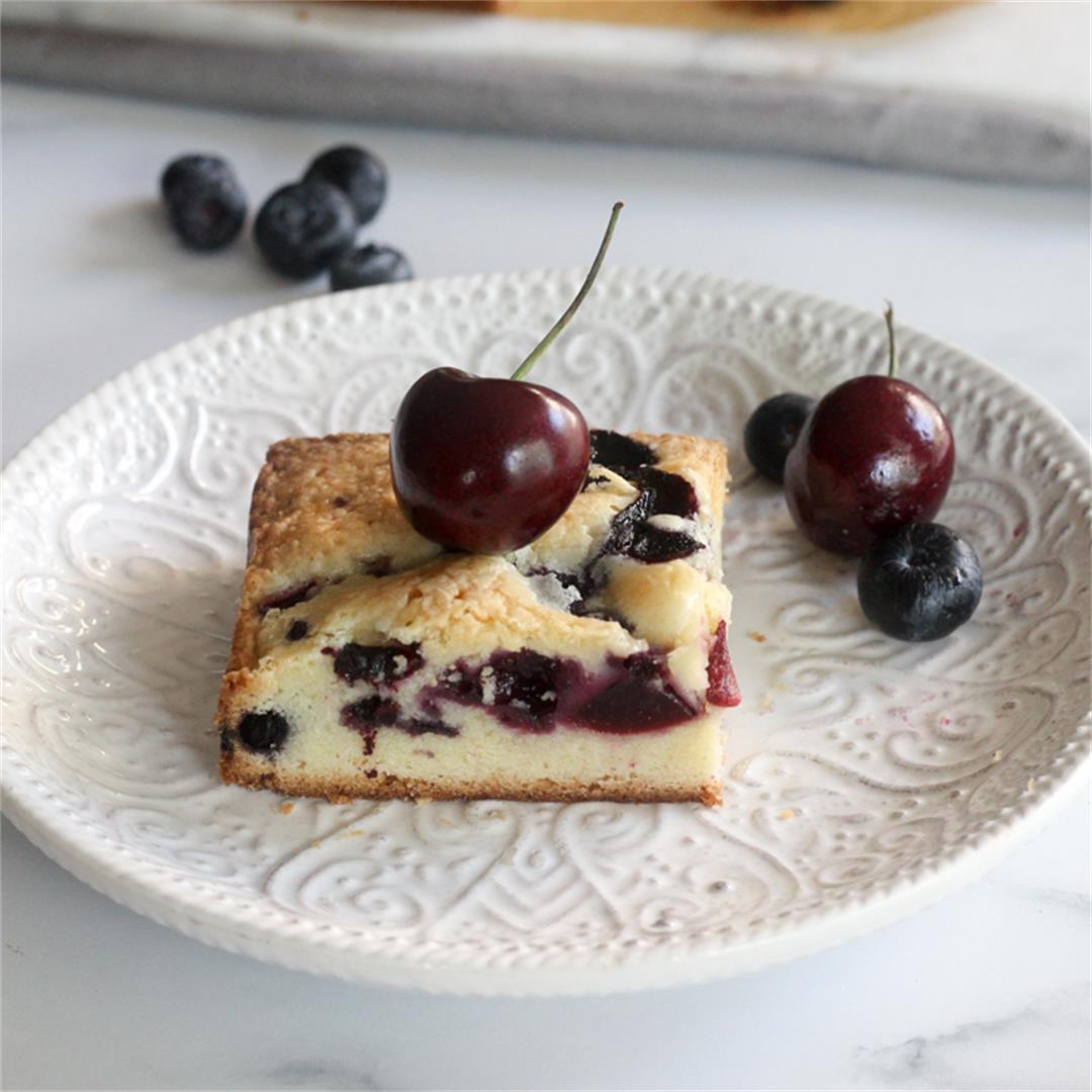 Fresh Blueberry and Cherry Cake Bars