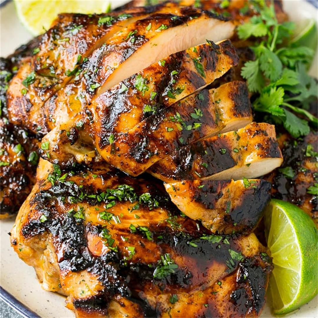 Grilled Chicken Thighs with Cilantro and Lime