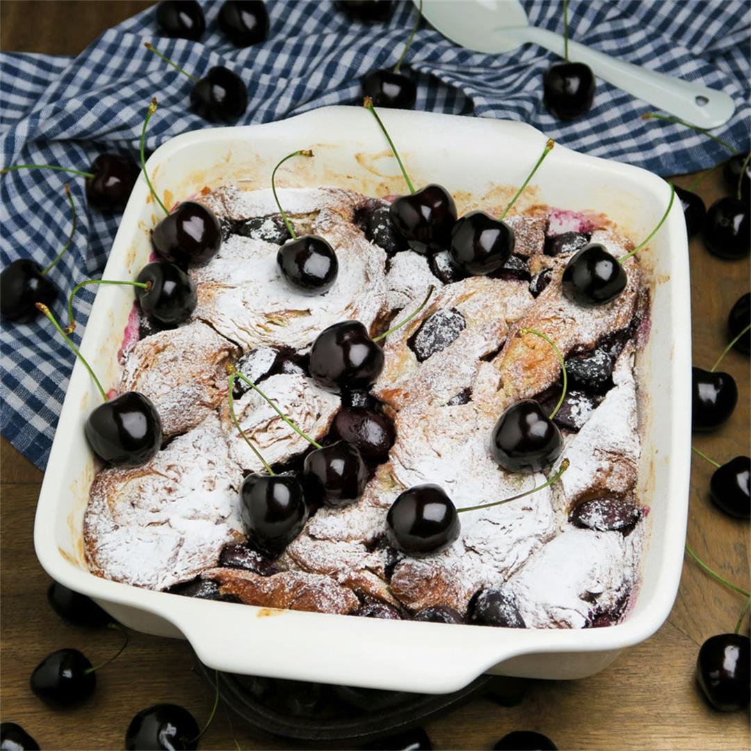 Creamy croissant pudding with lots of plump, sweet cherries!