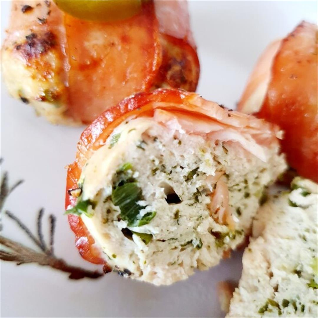 Keto Bacon Wrapped Chicken Meatballs