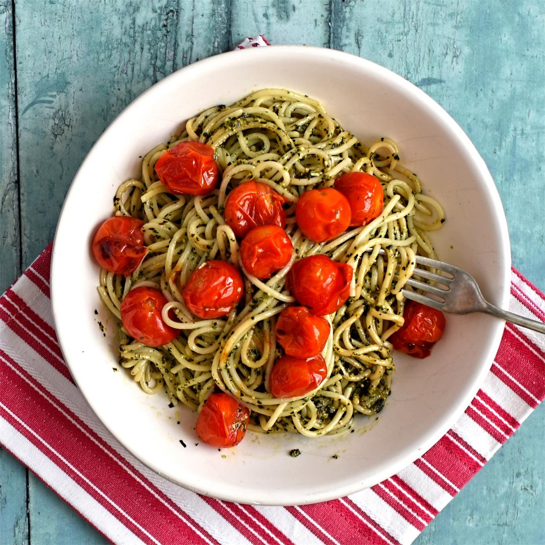 slow roast tomatoes with basil spaghetti