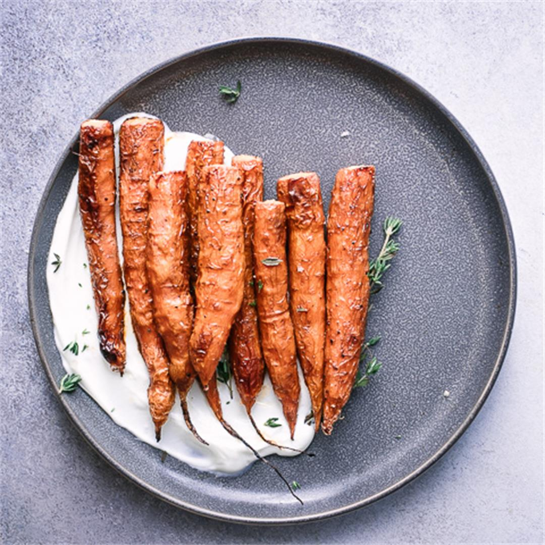 Maple Glazed Carrots with Yogurt and Thyme