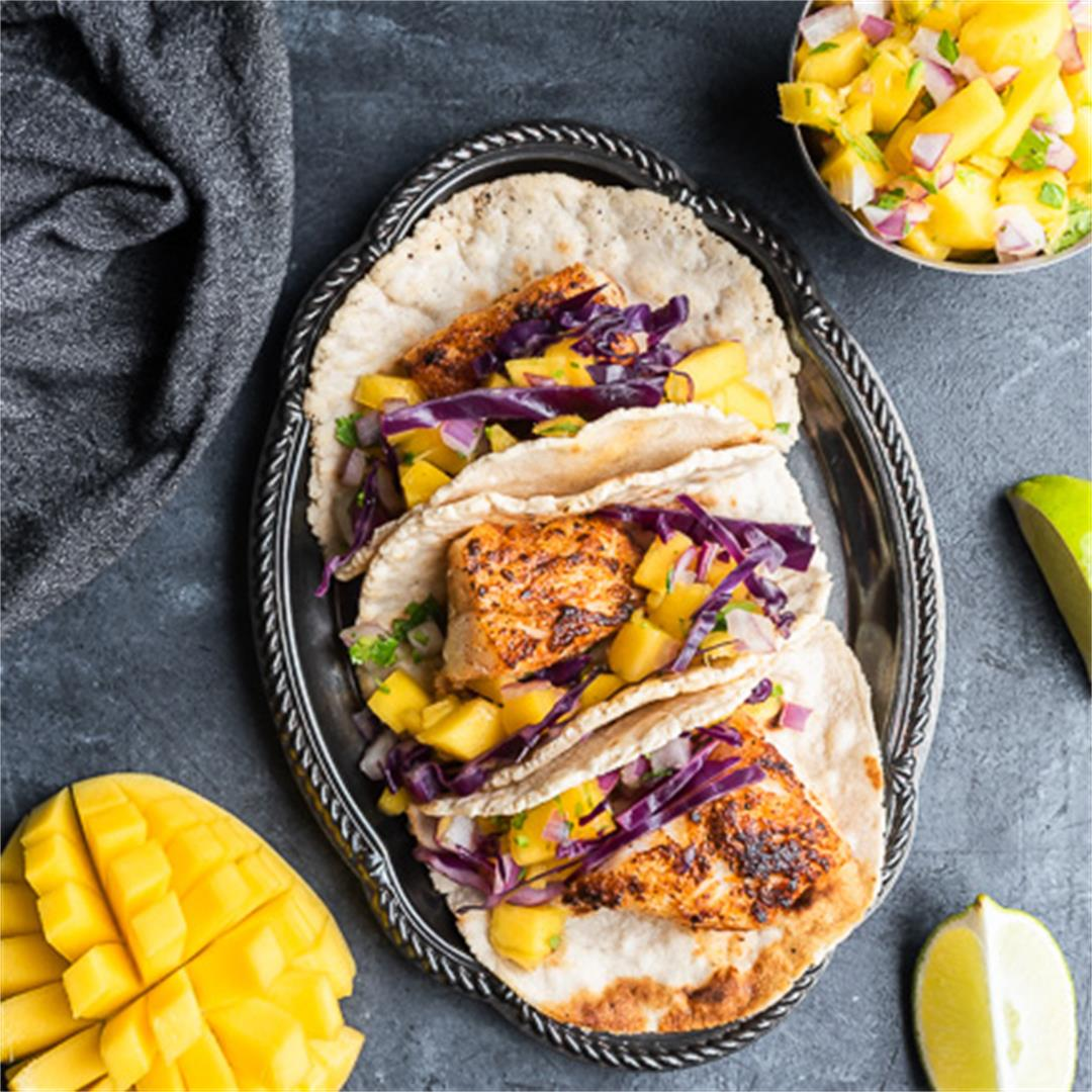 Paleo Fish Tacos with Mango Salsa