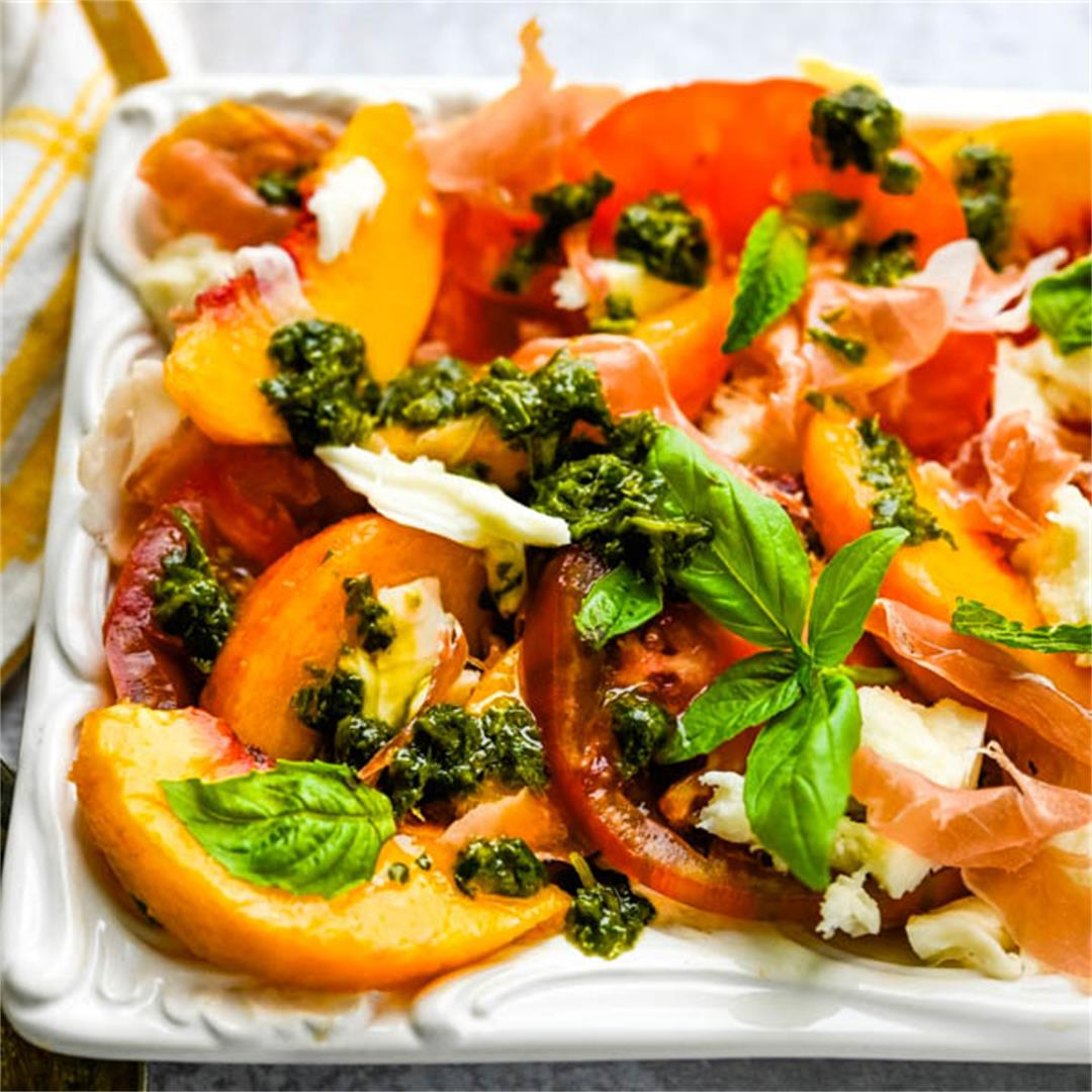Tomato Peach Caprese with Basil Herb Sauce