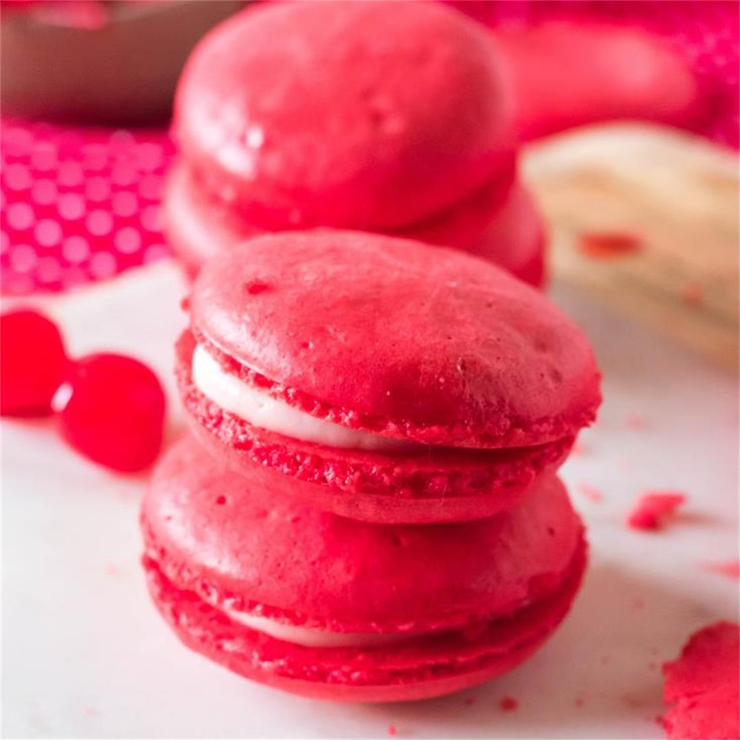 Cherry Macarons  naturally gluten free