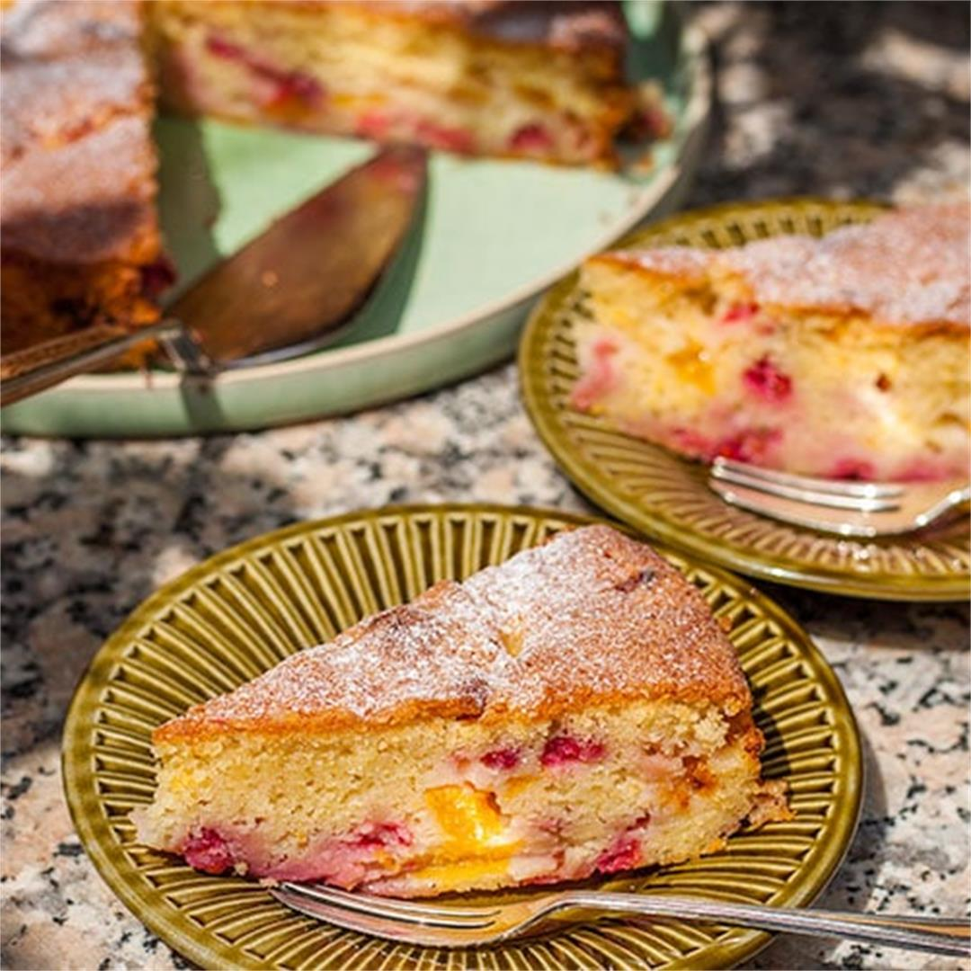 Easy Peach and Redcurrant Cake