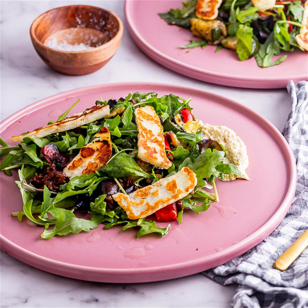 Roast Vegetable Salad with Halloumi