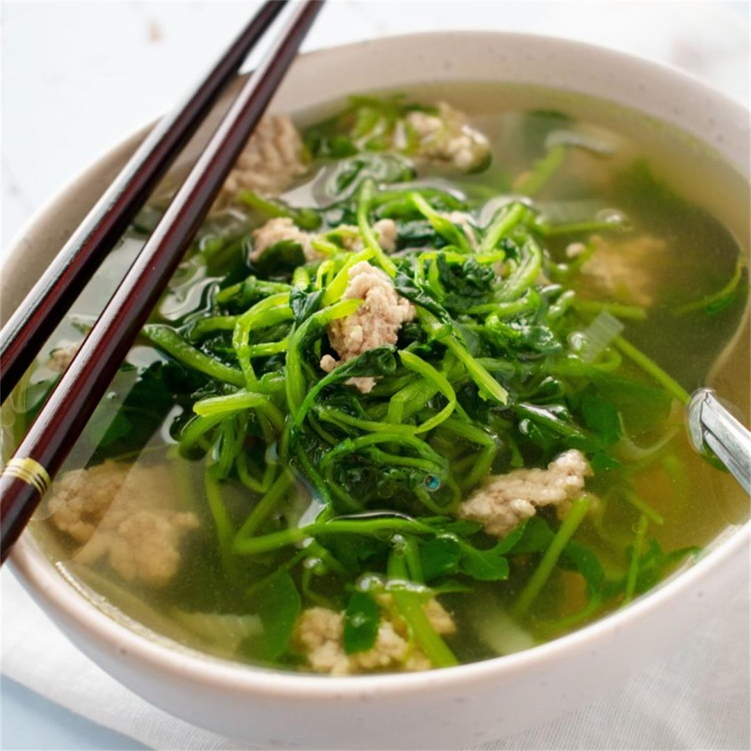 Simple Watercress and Pork Soup (low carb)