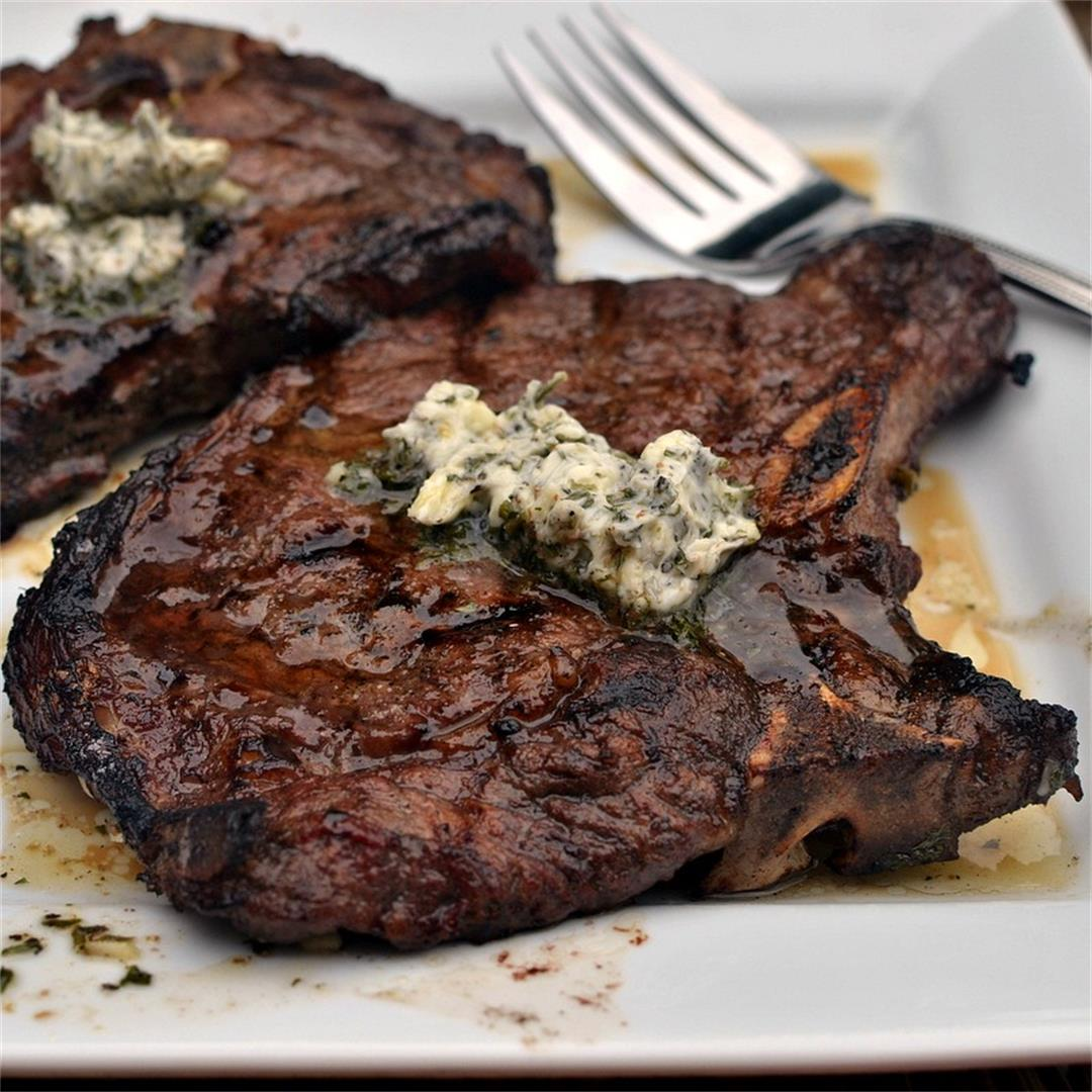 Marinated Herb Butter T Bone Steaks