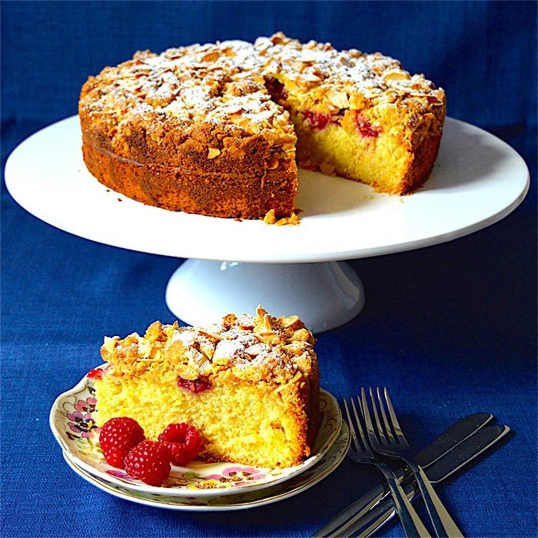 Almond Raspberry Crumble Cake