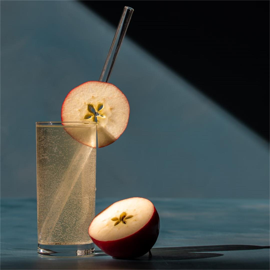 Apple shrub gin fizz cocktail