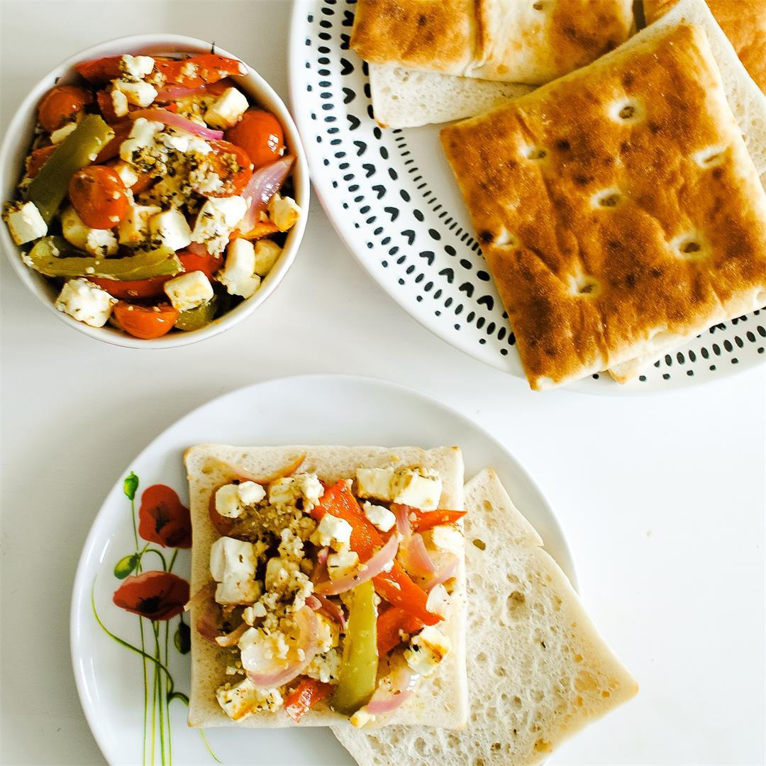 Roasted Feta Salad with Peppers & Tomatoes