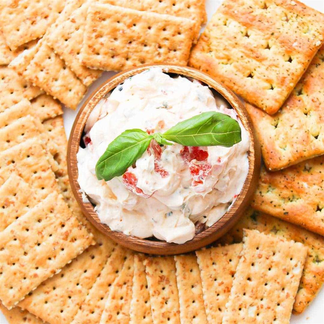 Roasted Pepper Cheese Dip • A Scrumptious Bite