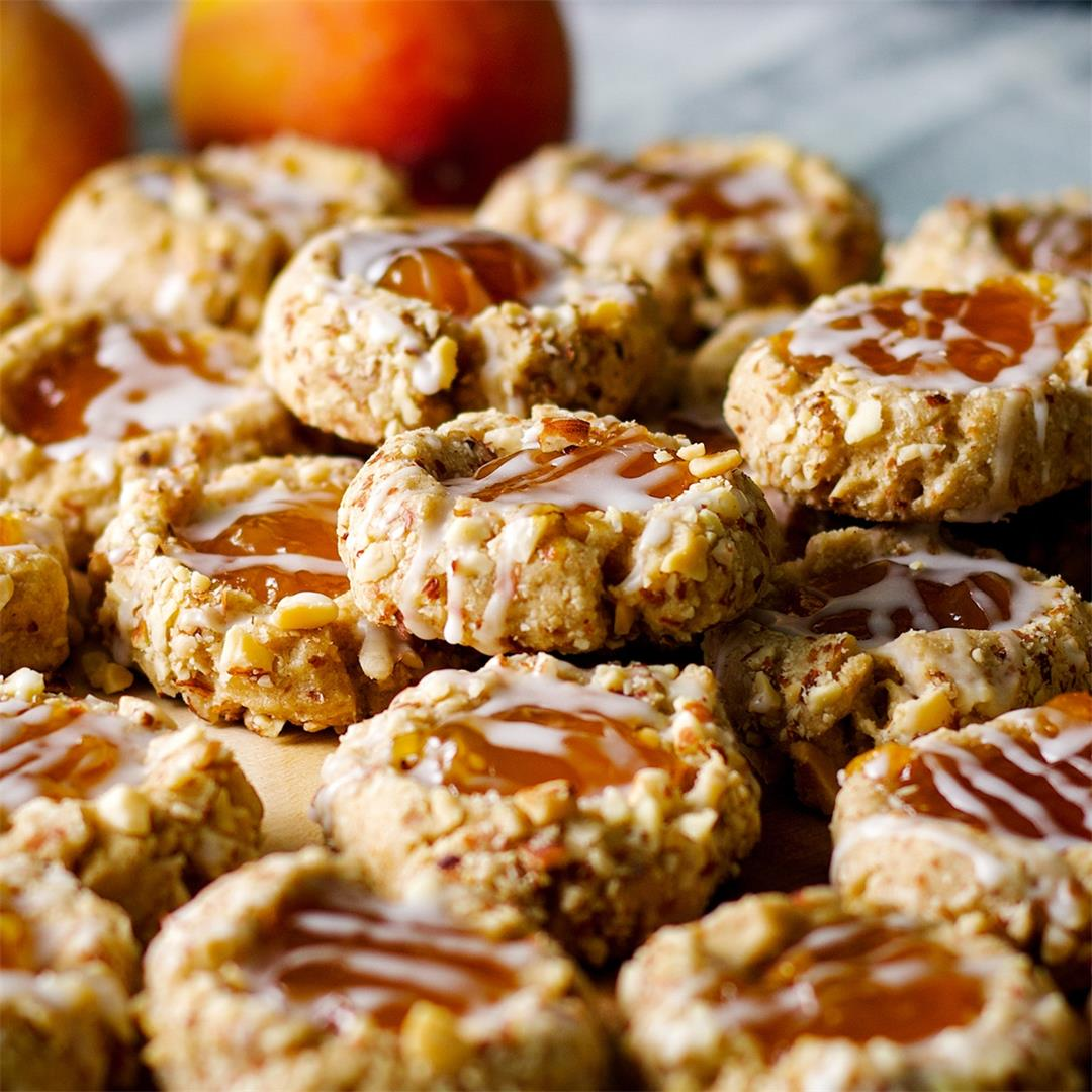 Peach Almond Thumbprint Cookies