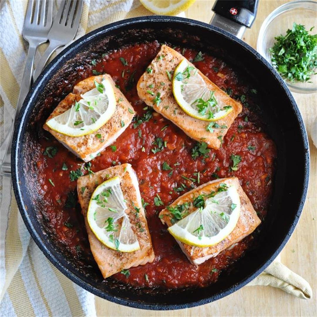 Pan Grilled Spanish Salmon with Tomato Sauce Recipe