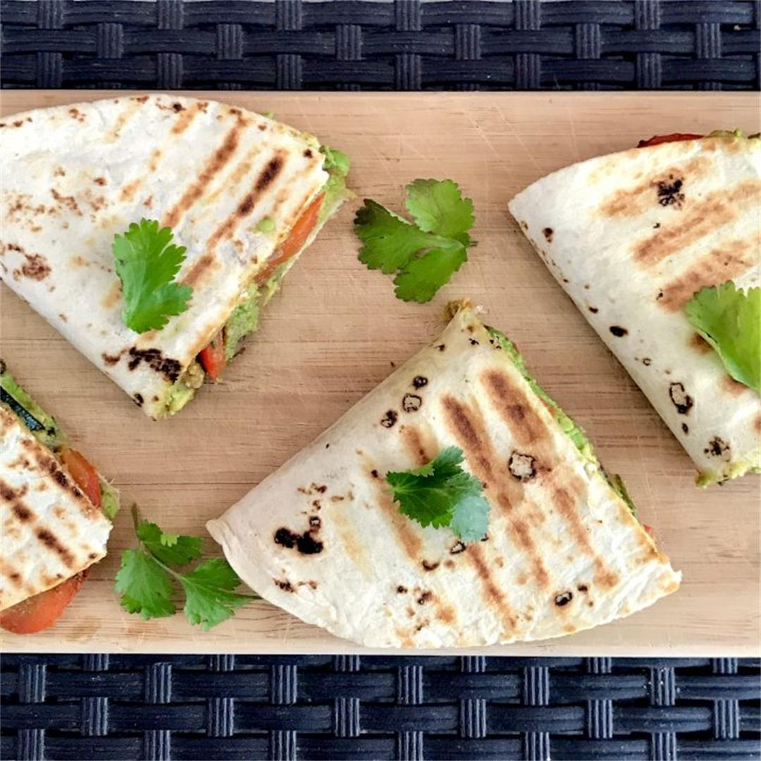 Vegan Avocado Quesadillas With Black Beans and Vegetables