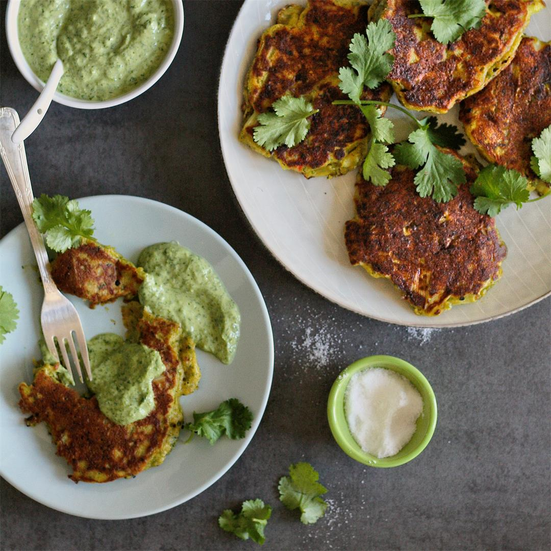 Leek fritters with a herby yoghurt sauce