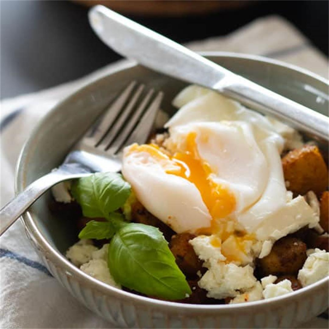 Fried Breakfast Potatoes with Feta & Poached Egg [Gluten free,