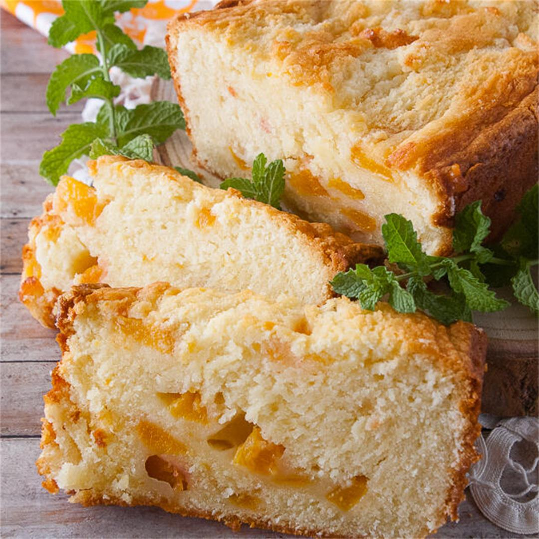 Fresh Peach Pound Cake Loaf