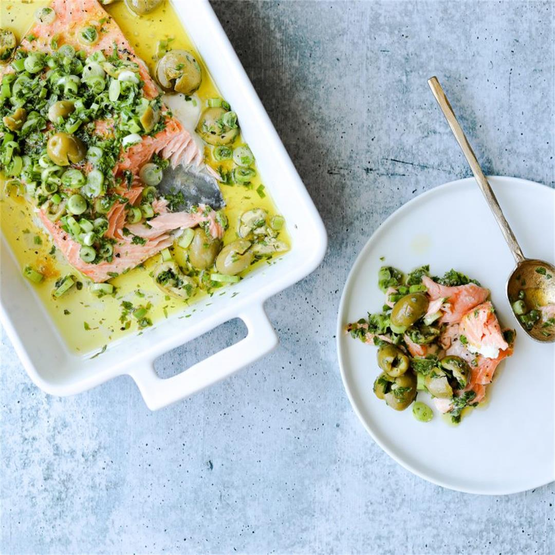 Slow-Roasted Salmon with Green Olive Salsa Verde