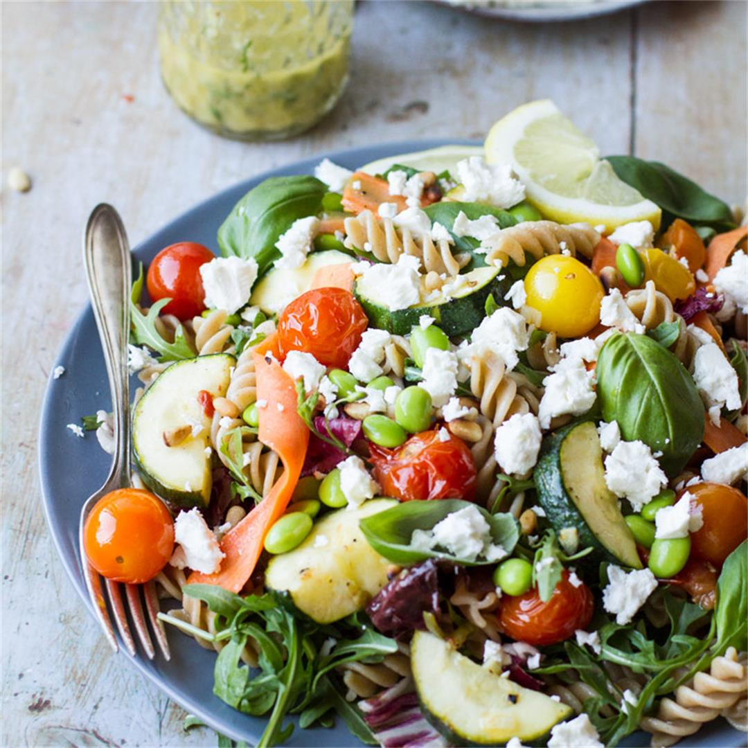 Healthy Pasta Salad with Tomato and Zucchini