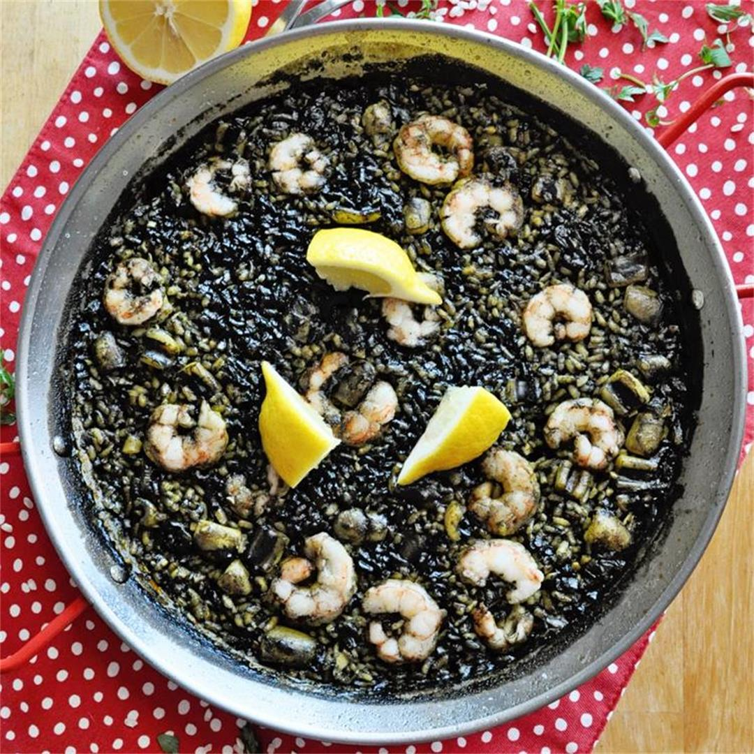 Spanish Black Rice Paella with Squid Ink Based Broth Recipe