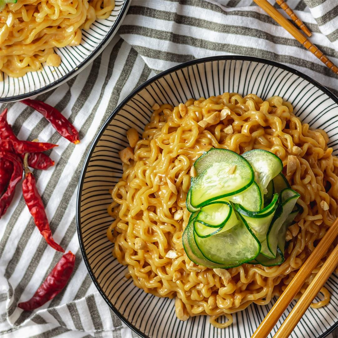 Spicy Peanut Ramen with Quick Pickled Cucumbers