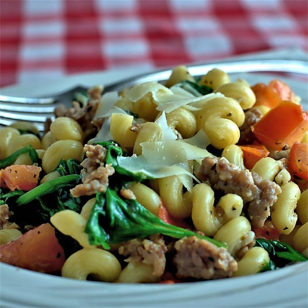 Easy Pasta with Spinach and Italian Sausage