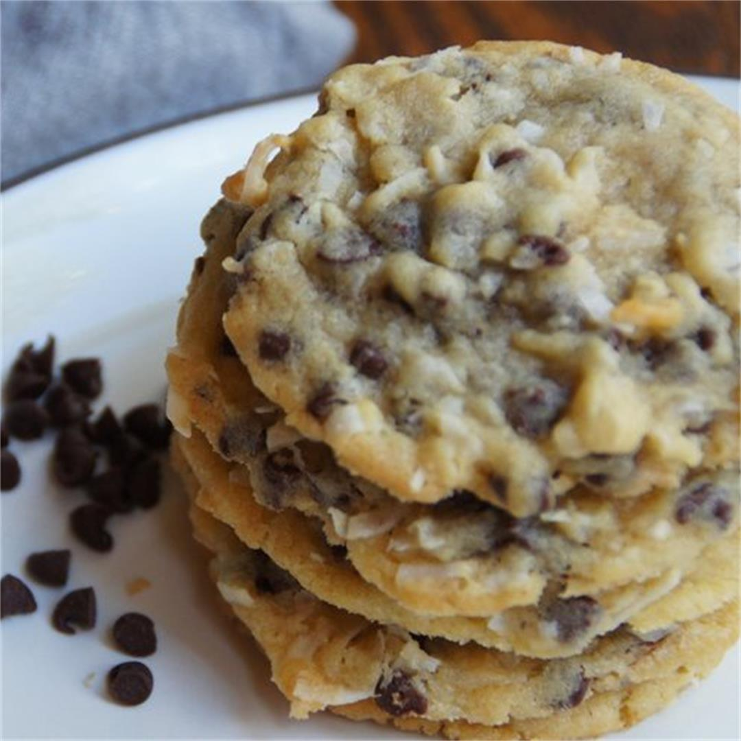 Almond Coconut Chocolate Chip Cookies — Land of 10,000 Recipes