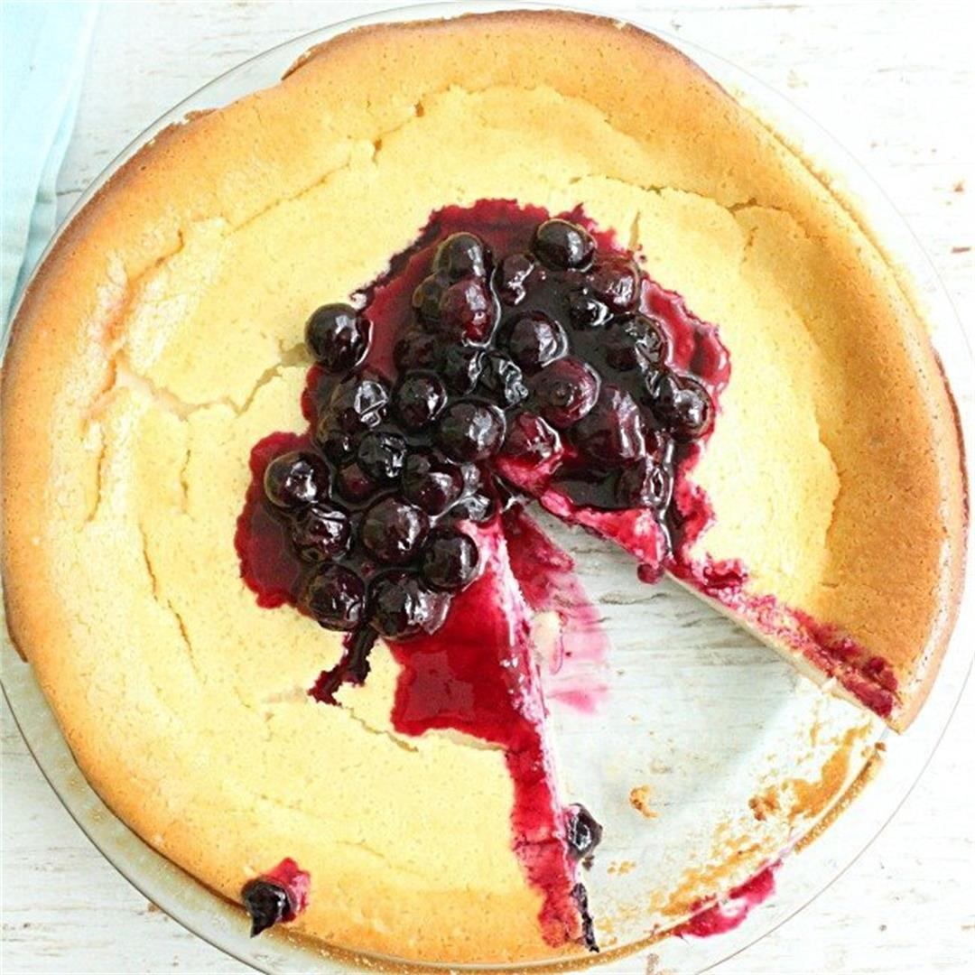 Crustless Cheesecake with Blueberry Sauce