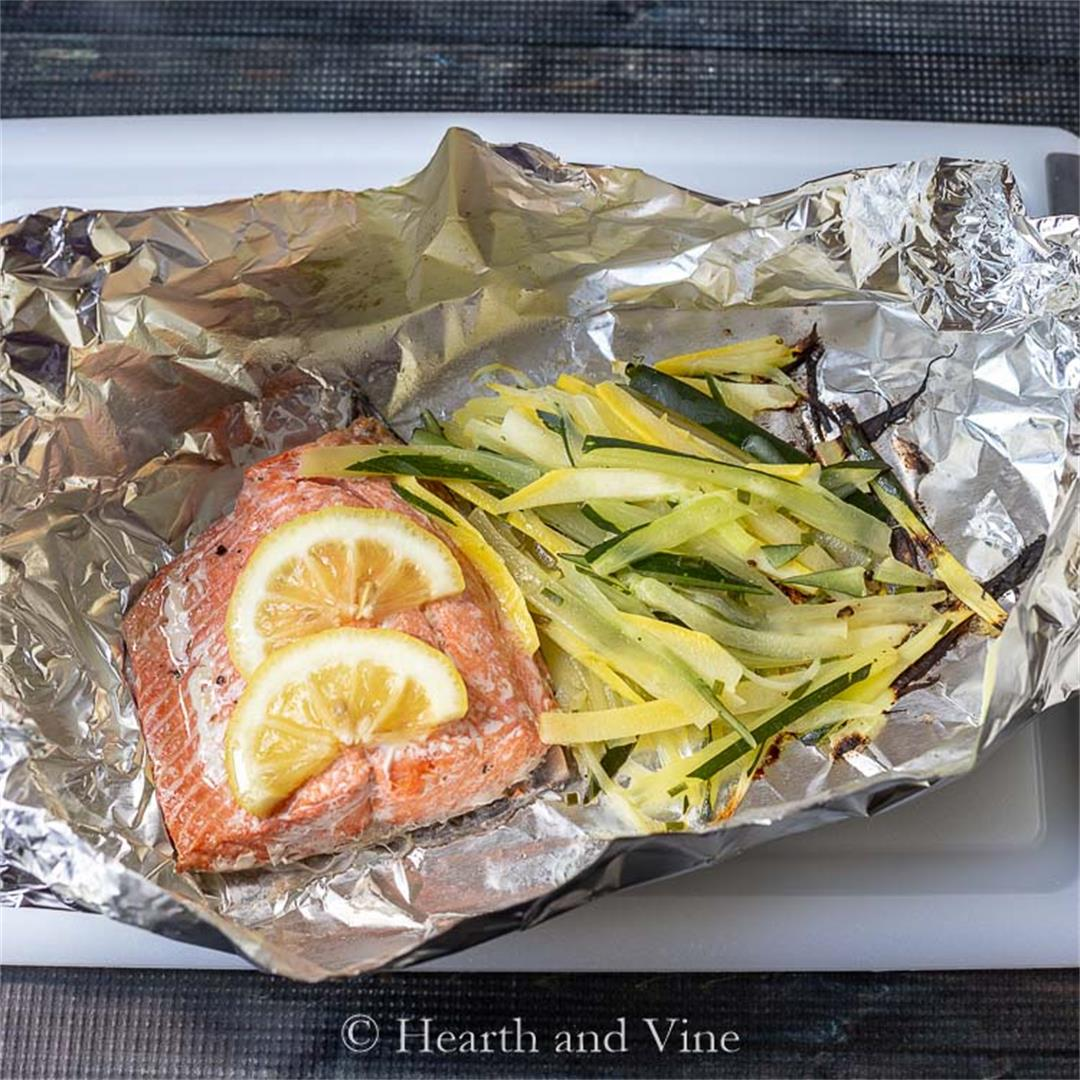 Easy Salmon Foil Packets with Julienne Vegetables