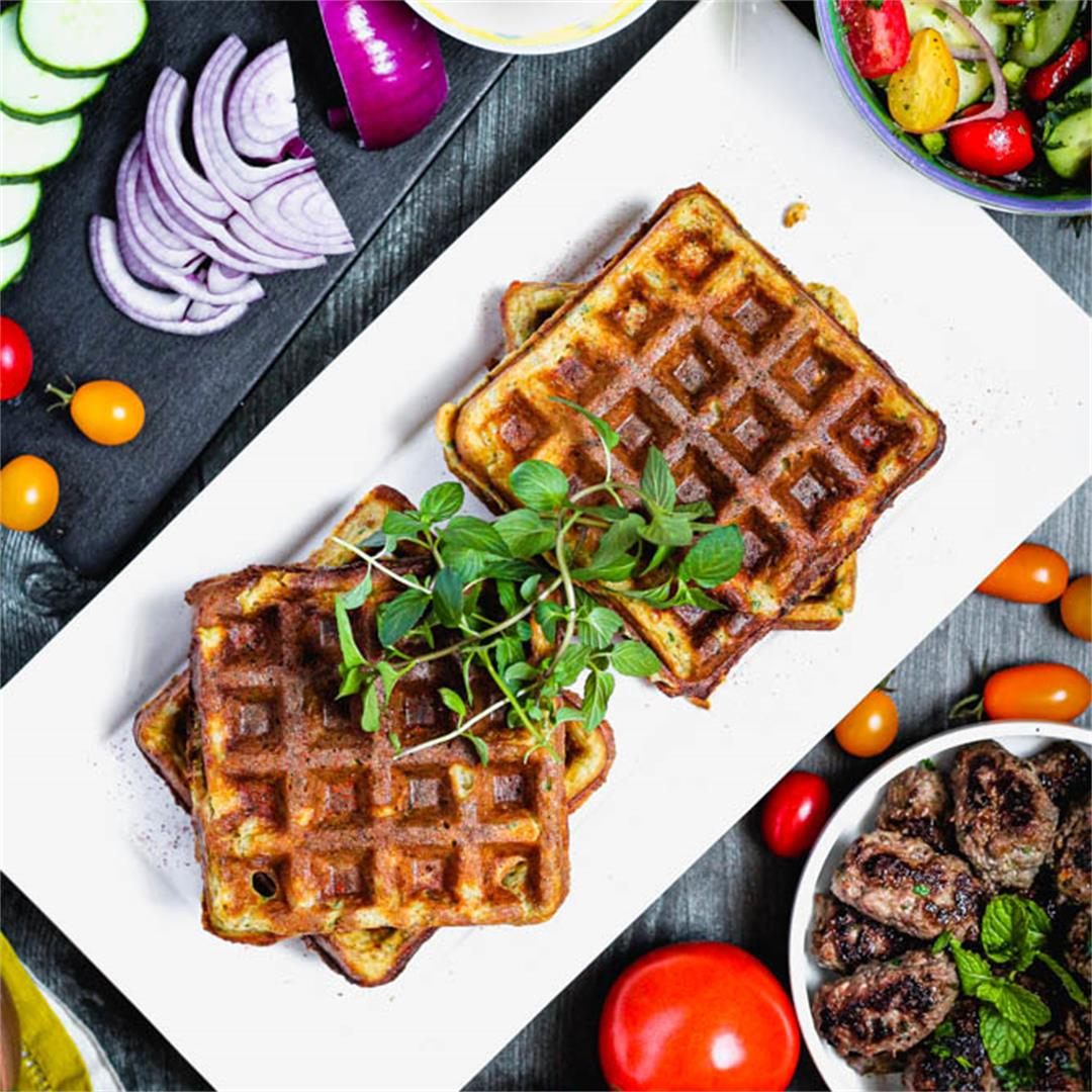 Falafel Waffles with Cucumber Tomato Salad & Easy Lamb Sausage