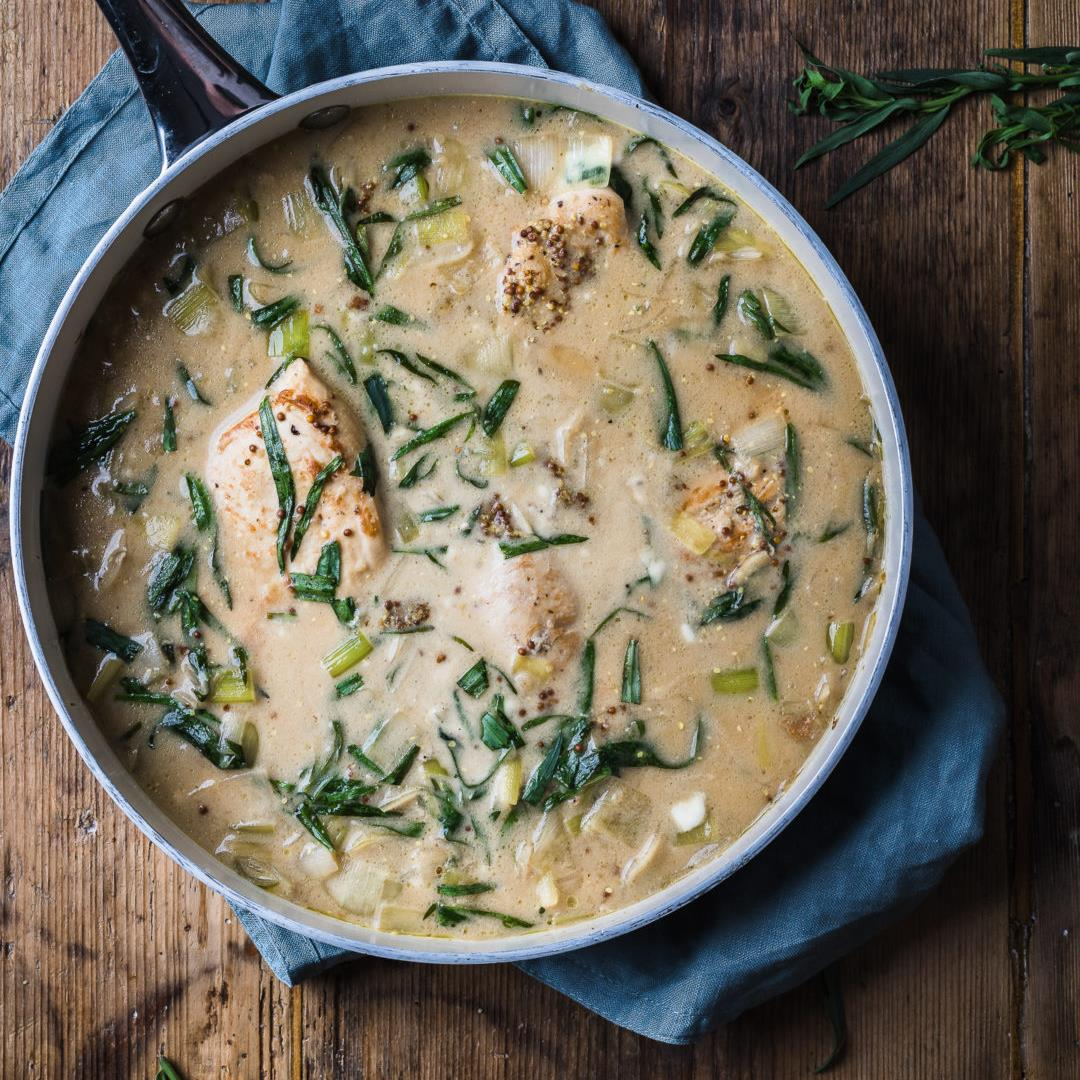 Chicken and leek recipe (in creamy tarragon sauce)