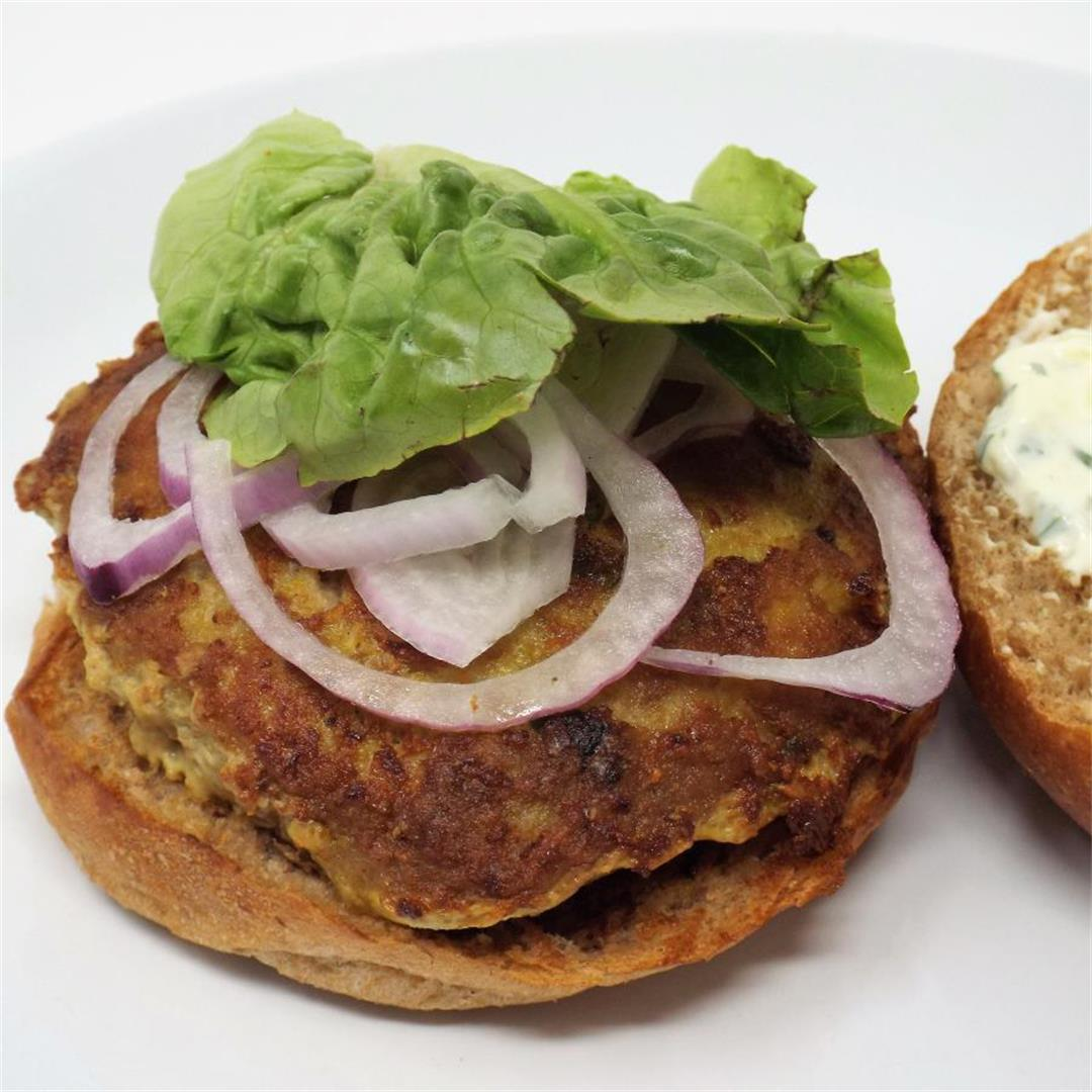 Curry Turkey Burgers with Cilantro Lime Aioli