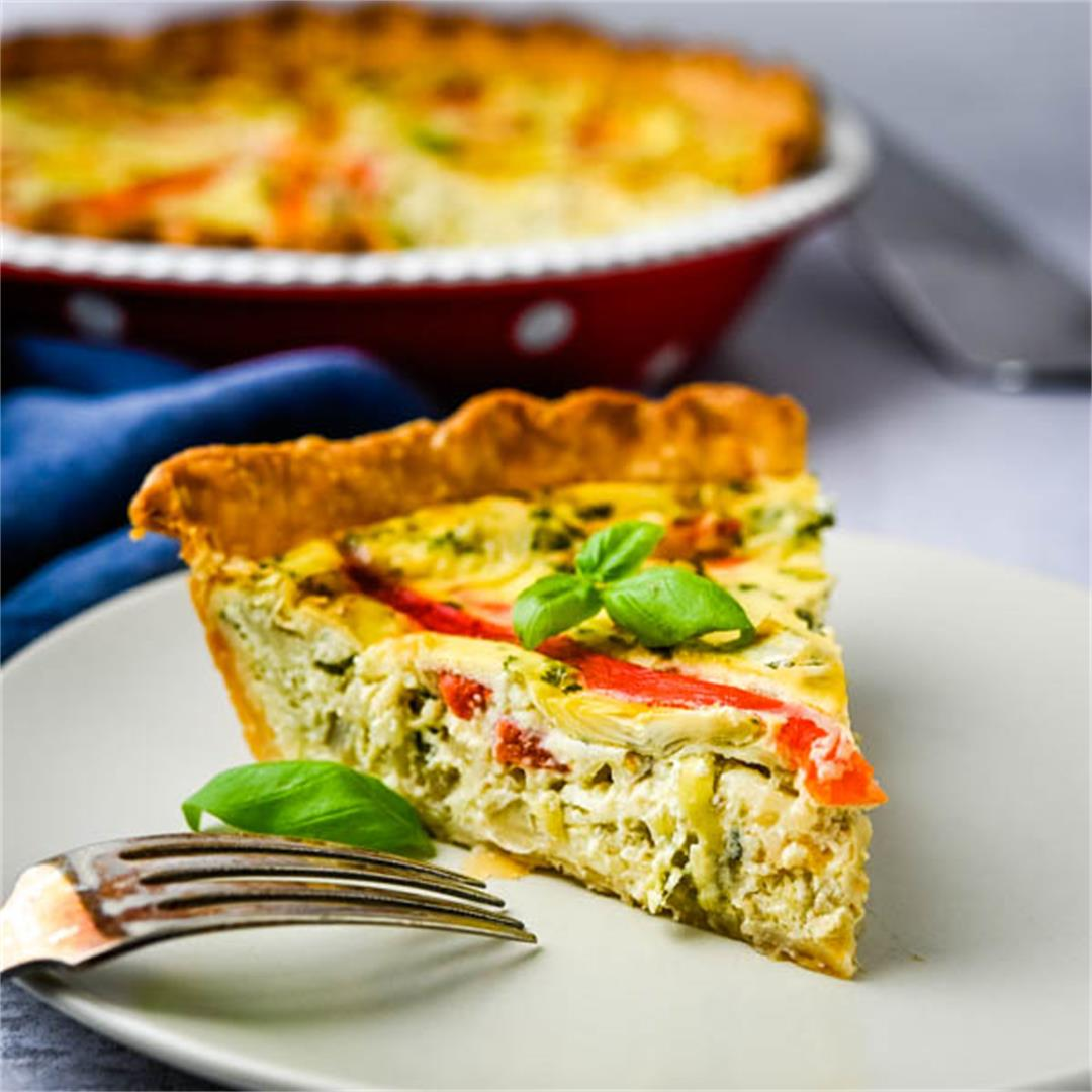 Roasted Bell Pepper Artichoke Quiche