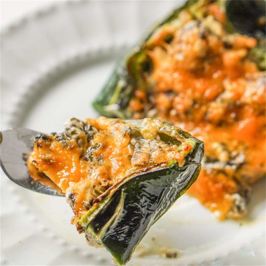 Low Carb Chicken Stuffed Poblanos