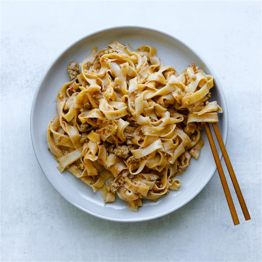 Five-Ingredient Spicy Pork and Peanut Noodles