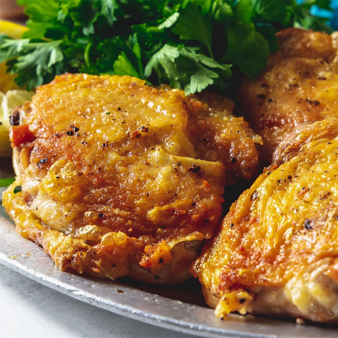Pan Fried Crispy Chicken Thighs