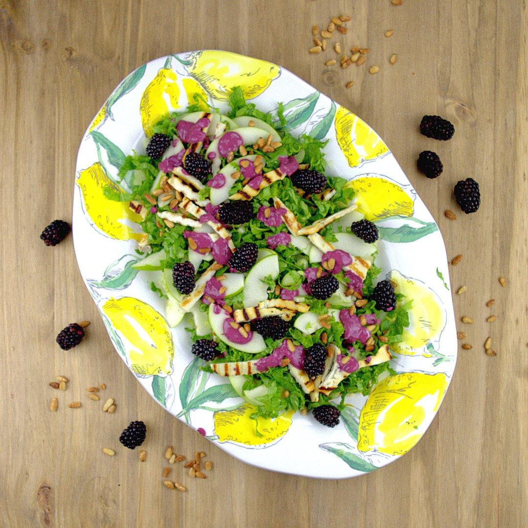 Salad with Grilled Halloumi & Blackberry Dressing – A Gourmet F
