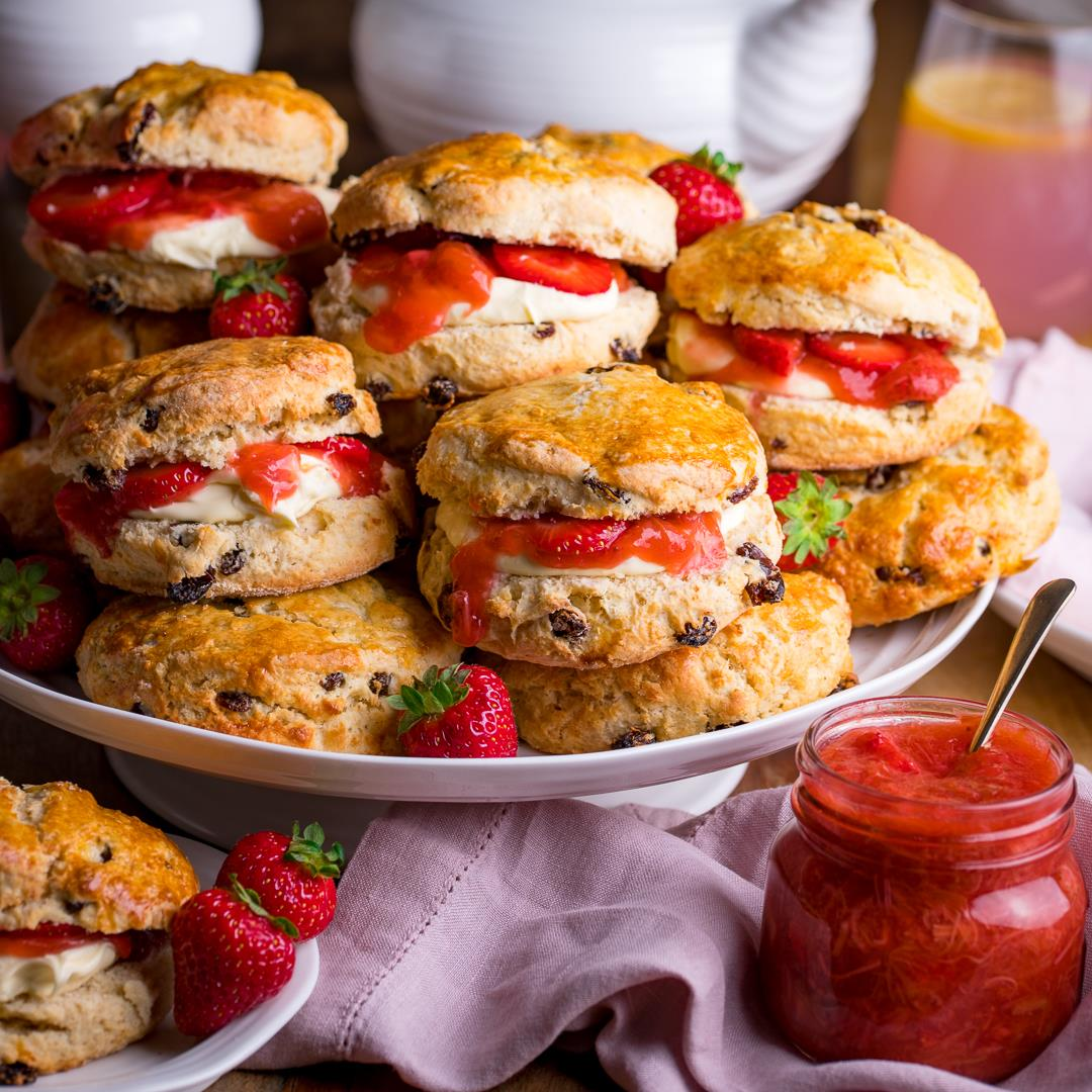 Sourdough Scones with Rhubarb and Strawberry Compote