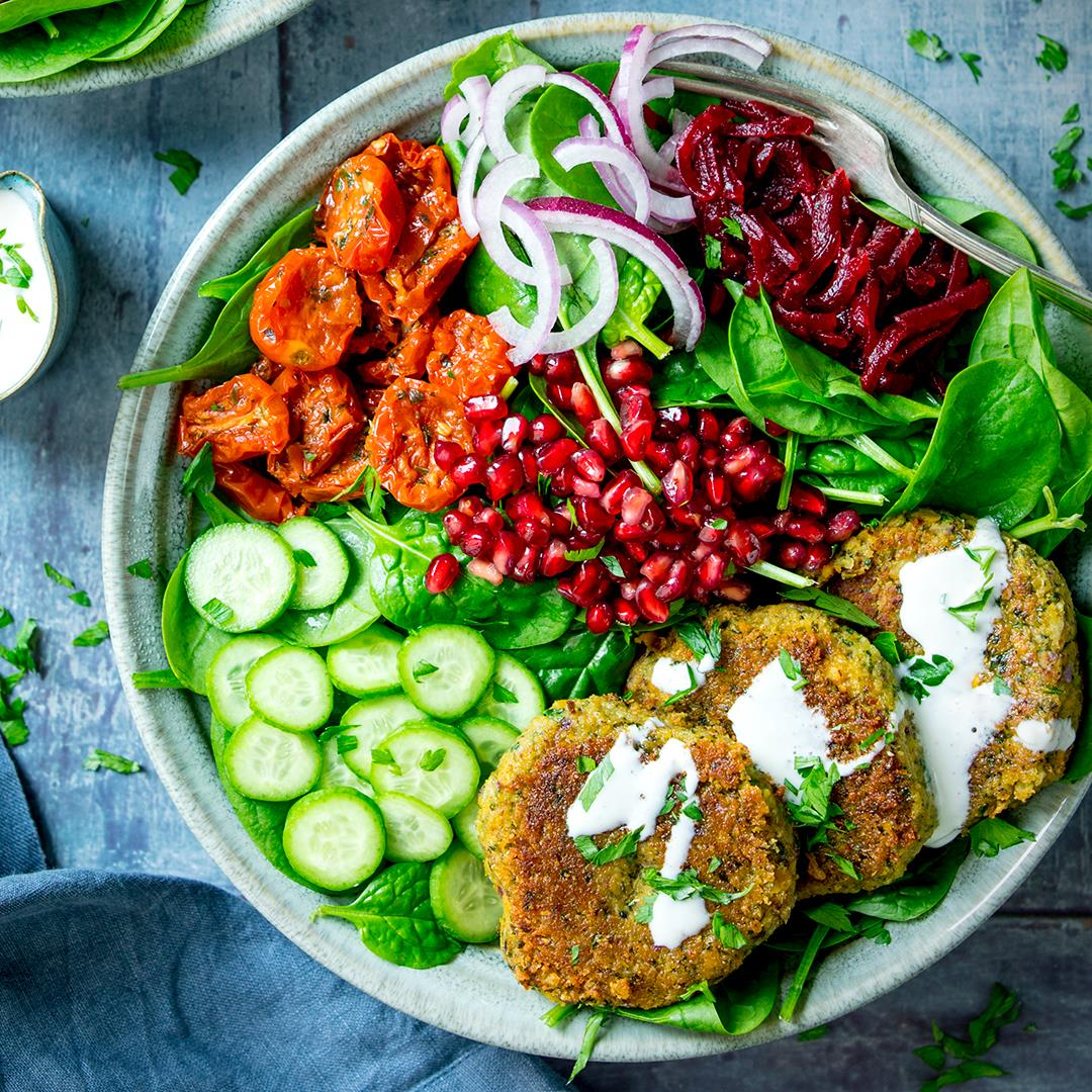 Falafel Salad Bowl with Creamy Feta Dip