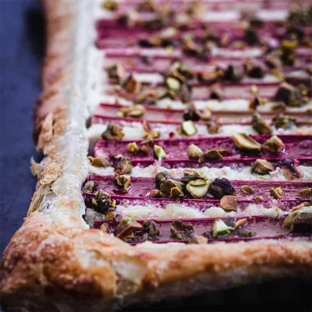 Rhubarb Tart with Ginger & Pistachios