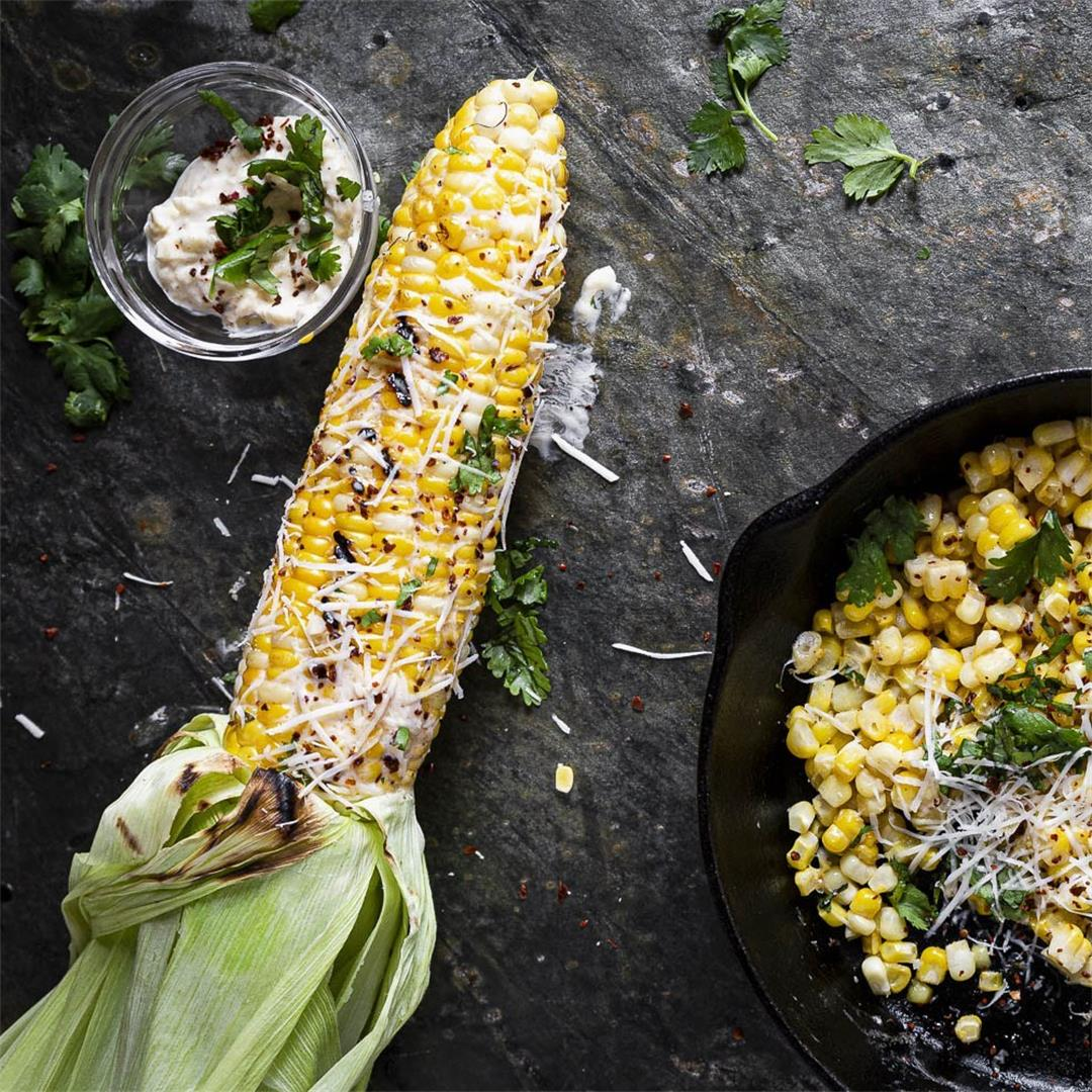 sort of Mexican street corn on the cob or in a skillet — Recipe