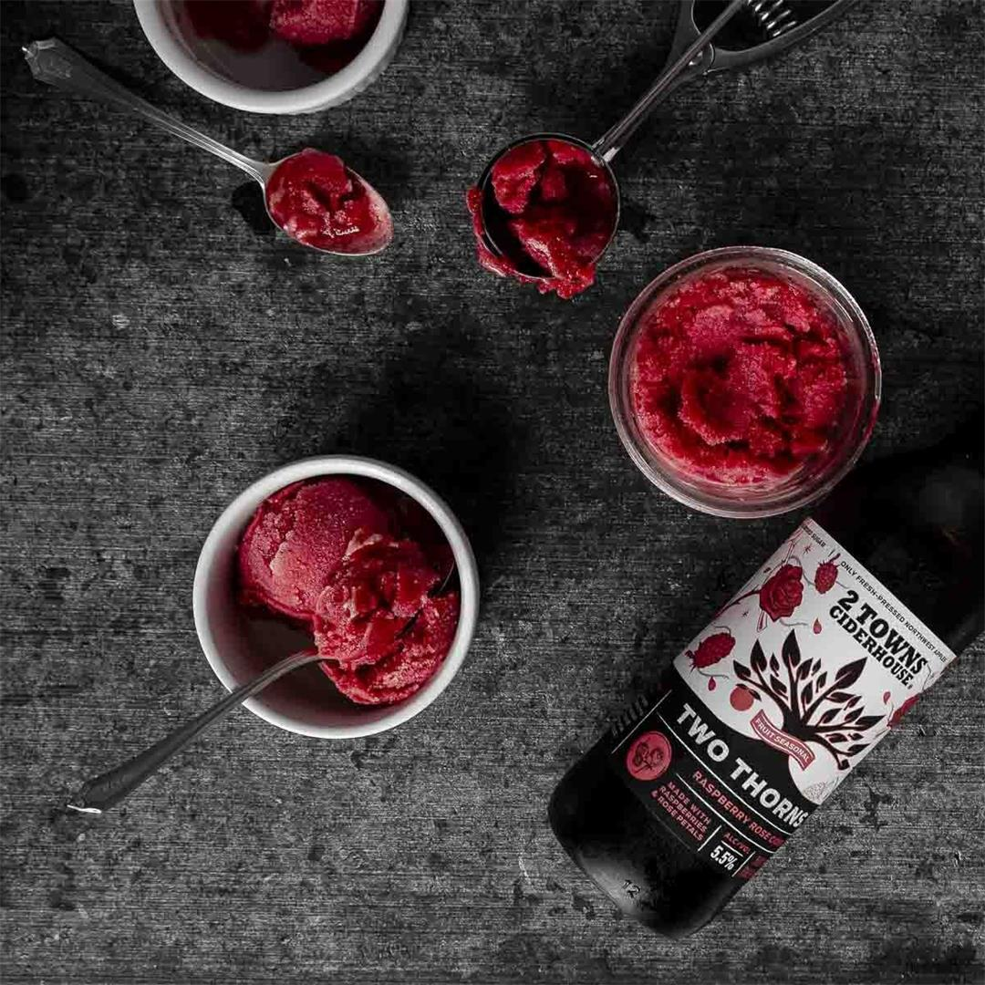 Two Thorns Hard Cider Raspberry Sorbet — Recipe Fiction