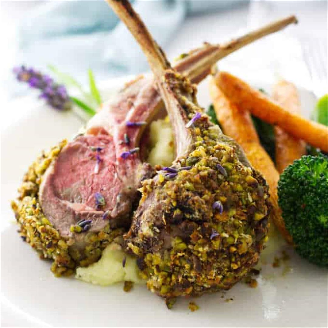 Lavender Pistachio Crusted Rack of Lamb