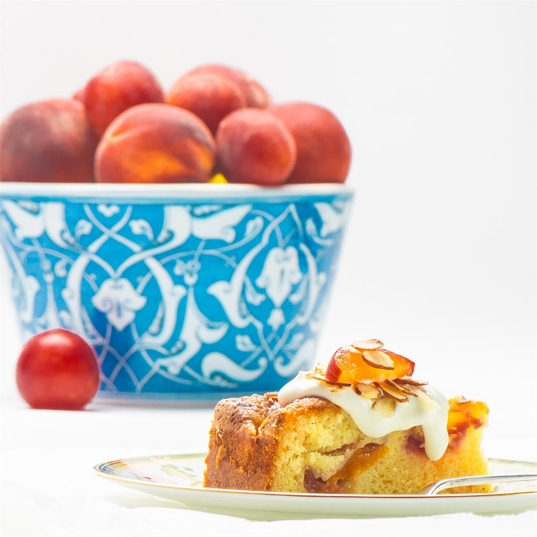 Almond-Apricot Cake With Creme Fraiche
