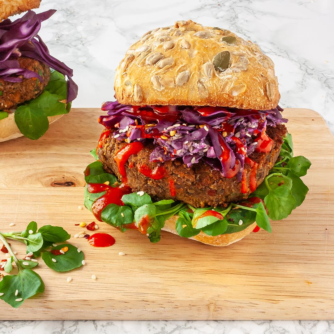 Spicy Lentil Black Bean Burger