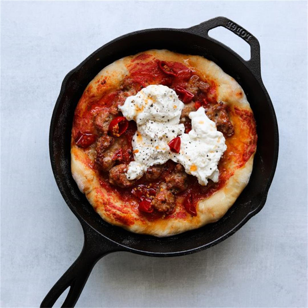Five-Ingredient Spicy Sausage Cast Iron Pizza